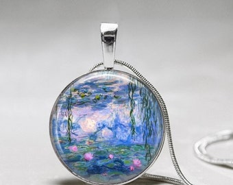 Monet Necklace Water Lily Pendant Monet- Artist Gift - Gift for Painter -Artist necklace -Monet Waterlilies Painting