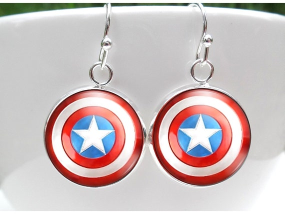 captain america earrings captain america earrings earrings by 4083