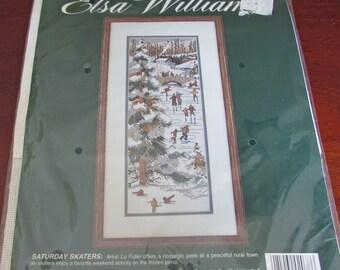 "Elsa Williams Counted Cross Stitch Kit 02078 Saturday Skaters Frozen Pond Lu Fuller JCA 6 "" x 16 "" Winter Scene Tree Birds Bridge"