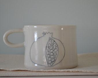 Pomegranate porcelain mugs