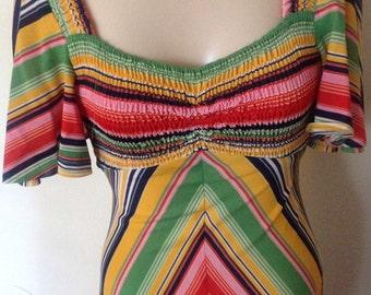 1970's Polyester Rainbow Dress