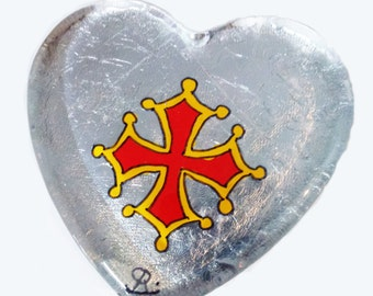 Press paper heart glass - painting on glass - cross of Biscay - silver background