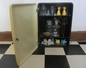 Mid Century Modern Melanine/Bakelite Wall Cabinet, Black Body with Beige Door - 1950s