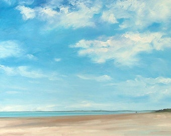 Walking the Dog, Findhorn mounted print of an original oil painting by Tracy Butler