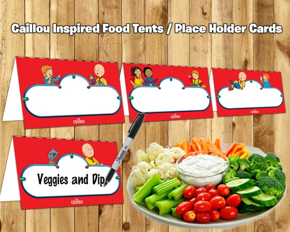 Caillou Inspired Food Tent Cards Caillou Food Tents instant download print Caillou Birthday Decoration Caillou Place Holder Cards Birthday