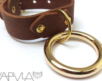 CAPTIVE / / Genuine Brown Leather Gold O-Ring Cuff (fetish, steampunk, bondage)
