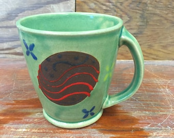Wheel Thrown Pottery Mug in Celadon with Engobe and Flowers 14 oz