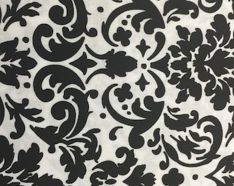 Black and White fleur de lis window valance