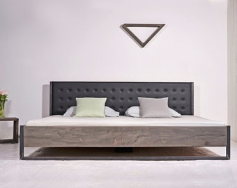 Industrial bed with Wall panel | Bonnieux