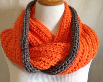 Handmade CrochetInfinity circular scarf in bright orange