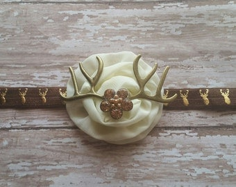Deer antler headband Cream and brown headband flower girl headband