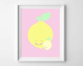 Nursery Prints, Nursery Wall Prints, Nursery Wall Art, Lemon, Fruit, Nursery Decor, Nursery Printable, Baby Wall Art, Nursery illustration