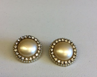 Vintage Faux Pearl and Crystal Clip On Earrings