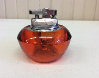 Vintage Ruby Red Art Glass Cigarette Lighter