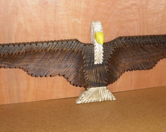 Hand carved wood American Eagle