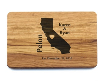Custom Cutting Board Personalized Wedding Gift for Couple Housewarming Long Distance Gift Bridal Shower Gift Ideas  California
