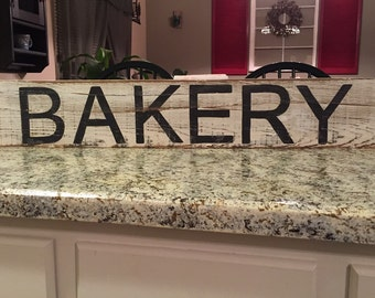 BAKERY sign wood bakery sign kitchen sign rustic hand painted sign fixer upper sign farmhouse kitchen decor