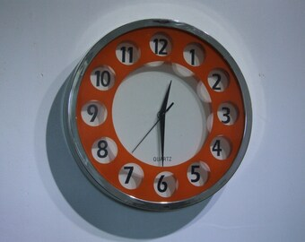 Orange clock // Retro Wall Clock// Orange Retro Wall Clock // 1970's wall clock