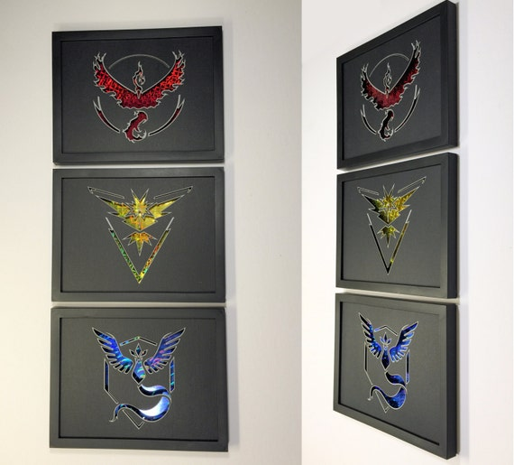 Pokemon Go Team Mystic Valor Instinct (Set of 3) 3D Paper Craft Shadow Box 6x8 with Holographic Back Card