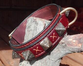 Celtic pyramid leather dog collar