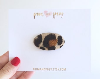 Leopard Print Leather Snap Clip - Oval Shaped