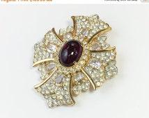 SummerSALE 80s KJL  Maltese Cross Brooch/Pendent   Cabochon & Rhinestone Brooch   Kenneth Lane Jewelry