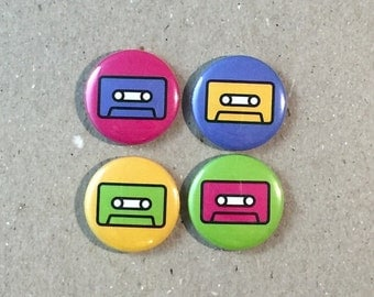 1980's Cassette Mix Tape 4 - 1 Inch Button Pinback Pin Set