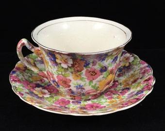 1920s Vintage Royal Crown Pasadena Melody Chintz Fine Bone China Teacup and Saucer Set