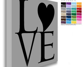 Heart Detail LOVE Canvas Chunky Framed Black Text  (32 Background Colours Available)