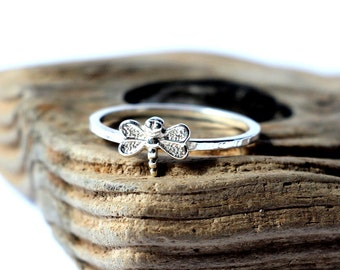 Dragonfly sterling silver. Tiny sterling silver ring, stacking ring, hammered band ring
