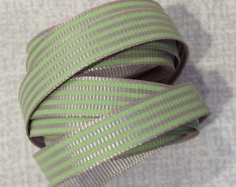 Green Striped Grosgrain Ribbon 2 Metre Length