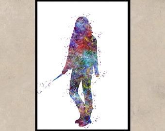 Hermione Granger, Harry Potter, Watercolor print, for childrens, Kids Room Decor, Poster, print Instant Download