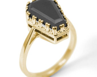 Coffin Ring 7.70ct Solitaire Black Spinel Set In Solid Gold 9ct or 14ct