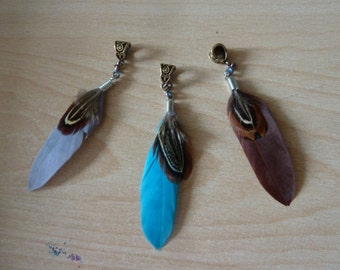 Dreadlock Feather, Dread Jewelry, Feather for Dreadlocks, Dread bead, Dread Cuff, different Colours