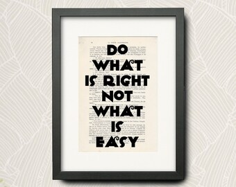 Print From -Beyoncé- Quotation (Wall Art Print) On Very Old French Book : -Do What Is Right Not What Is Easy-... -N- 011