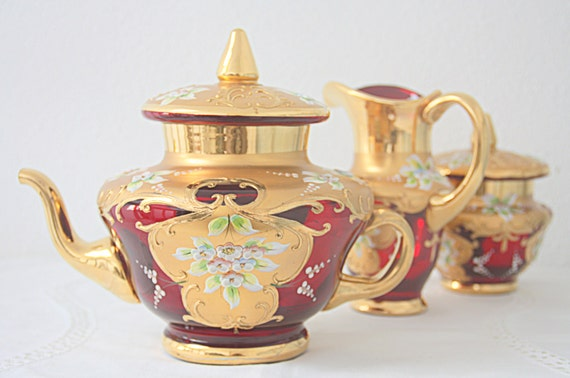 Vintage Venetian Hand Painted Ruby Red Tea Set (including bonus teapot), Murano Glass, Made in Italy, 22 Kt. Gold Decor
