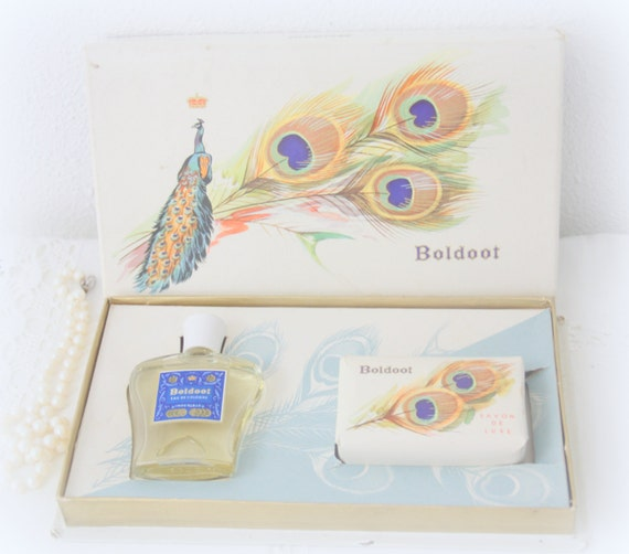 Vintage Boldoot Box with Eau de Cologne and Soap Bar, Gift Box, Peacock Decor, Made in Holland