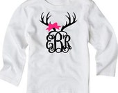 Deer Antler Monogram White LONG or SHORT Sleeve WHITE Tee Girl Antler With Bow Antler Monogram Country Girl Tshirt