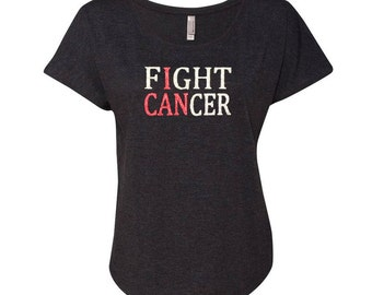 Fight Cancer I CAN Glitter Breast Cancer Awareness Dolman T-Shirt - Silver & Pink Glitter