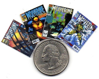 4 Miniature  'WOLVERINE'   COMICS  -  Dollhouse 1:12 scale