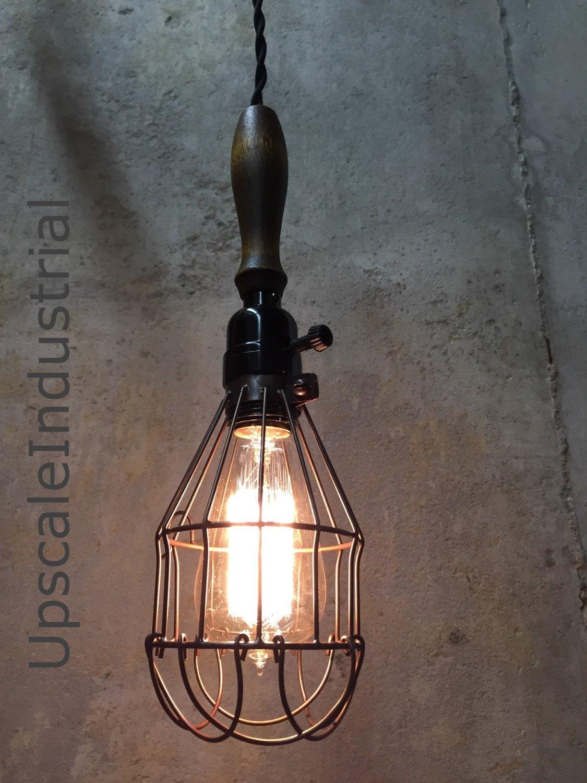 Lighting Ceiling Light Vintage Farmhouse Wood Handle Caged