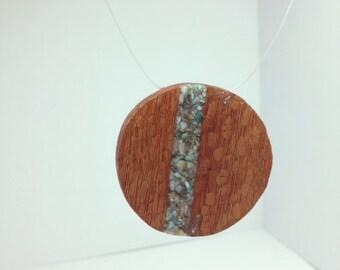 Round turquoise inlaid pendant