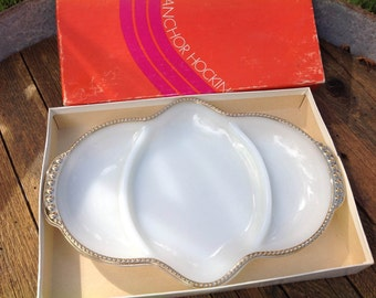 1950's Fire King Relish Dish and Box