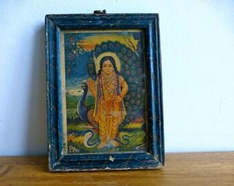 Vintage Framed Picture of Hindu God Murugan