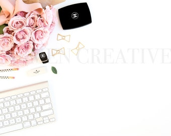 Pink and Black Styled Stock Photography / Desktop Styled Stock Photo / Chanel Beauty Stock Photography