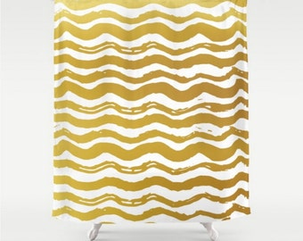 shower curtain gold waves white wavey line design yellow design home bath room decor