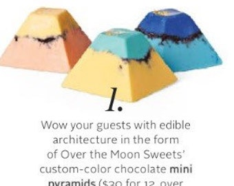As Featured in MARTHA STEWART WEDDINGS magazine- Tropical Colored Cookies and Cream Chocolate Pyramids