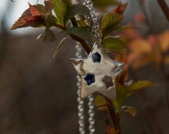 Sterling Silver Star with Enamel Pendant and Chain