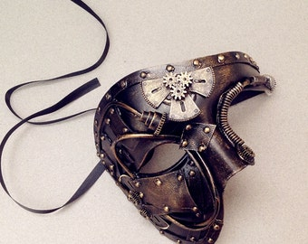 Steampunk Metalic Silver Gold Phantom of the Opera Unisex Mens masquerade ball mask