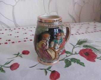 Beer mug English embossed ceramic